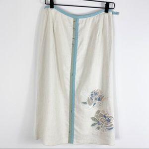 J. Jill Linen Blend Floral Appliqué Skirt